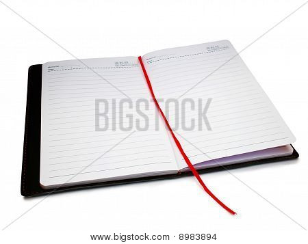book, diary and  blank pages isolated over white background