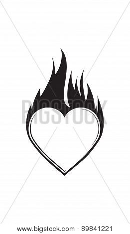 Abstract Vector Blazing Heart With Flame For Your Design Or Tattoo.