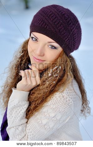 Portrait Beautiful Brunette Girl On A Walk In Winter
