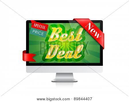 Best Deal Banner. Computer Display Offer. Vector Design