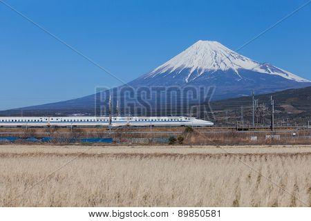 Shinkansen bullet train and Fuji mountain