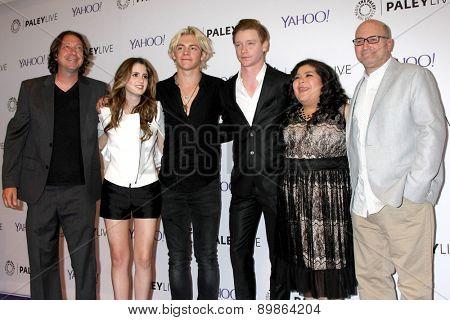 LOS ANGELES - MAY 3:Heath Seifert, Laura Marano, Ross Lynch, Calum Worthy, Raini Rodriguez, Kevin Kopelow at the