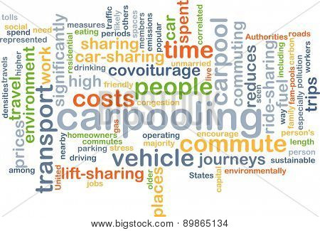Background text pattern concept wordcloud illustration of carpooling