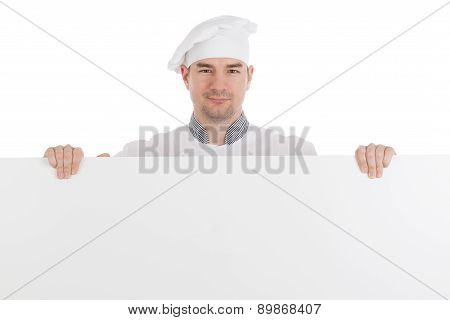 Chef With White Blank Board