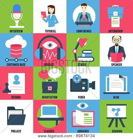 Set Flat Icons Of Business Learning