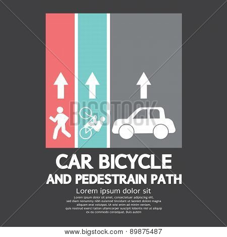 Car, Bicycle And Pedestrian Path.