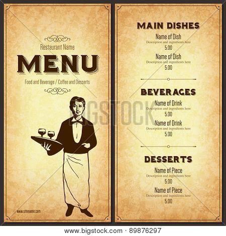 Retro restaurant menu design with the silhouette of a waiter