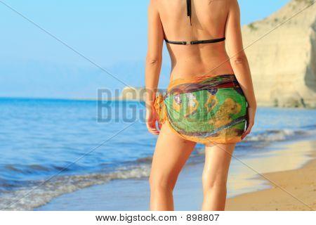 Attractive Woman At The Beach On Corfu Island