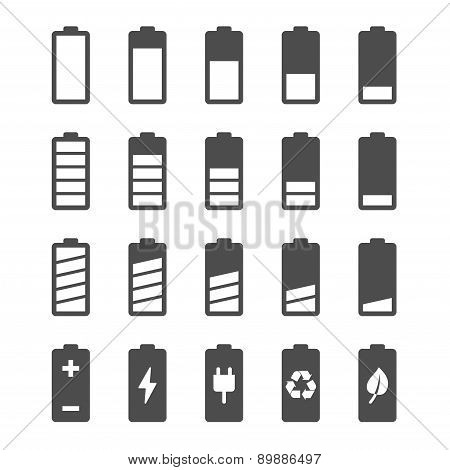 Battery icon set with charge level indicators