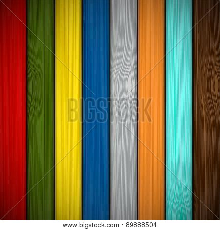 Wooden Fence Painted In Different Colors