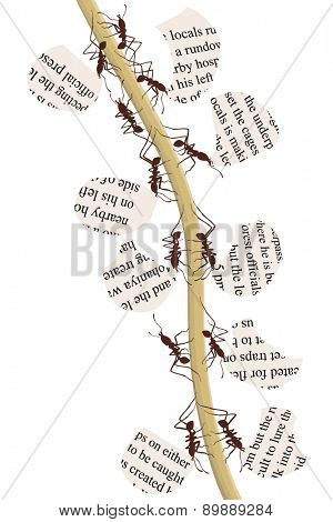 Illustration of natural recycling with leaf cutter ants carrying fragments of newspaper poster