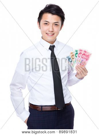 Businessman show with RMB