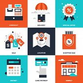 Vector set of flat shopping and commerce icons. Icon pack includes following themes - location, sale, retail, delivery, market, discount, budget, new product, card payment poster