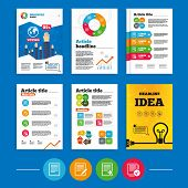 Brochure or flyers design. File document icons. Download file symbol. Edit content with pencil sign. Select file with checkbox. Business poll results infographics. Vector poster