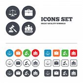 Scales of Justice icon. Group of clients symbol. Auction hammer sign. Law judge gavel. Court of law. Web buttons set. Circles and squares templates. Vector poster