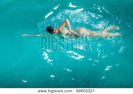 Swimming Woman In Pool.