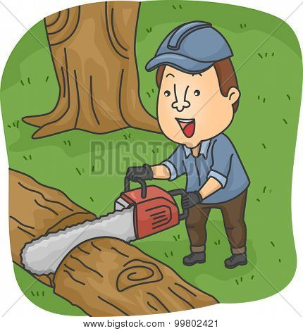 Illustration of a Logger Cutting a Fallen Tree with a Chainsaw