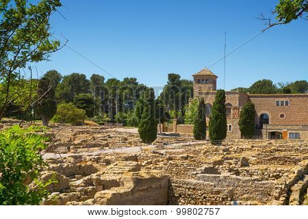 a view of the ancient greek archaeological remains of Empuries and Santa Maria de Gracia, in La Escala, Spain