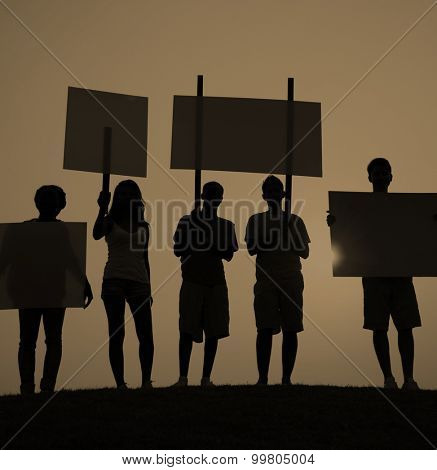 Protest Group Unity Crowd People Communication Concept poster