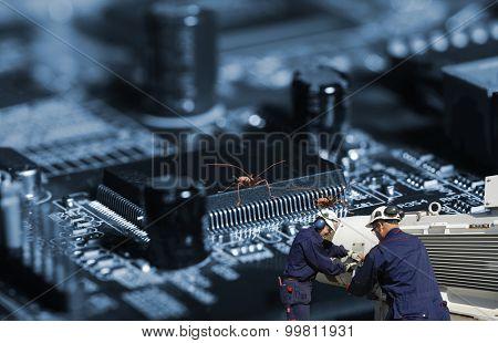anti bug virus workers, symbolic with anti virus programs