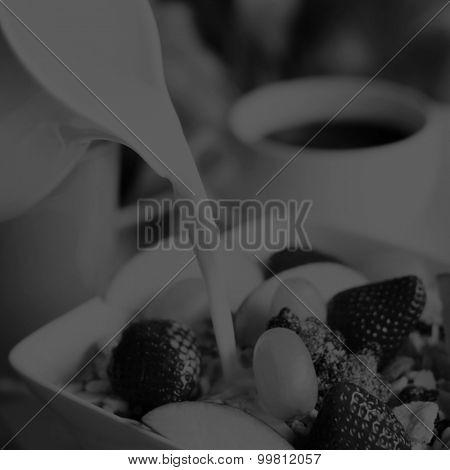 Breakfast muesli, black coffee and orange juice on the side Concept
