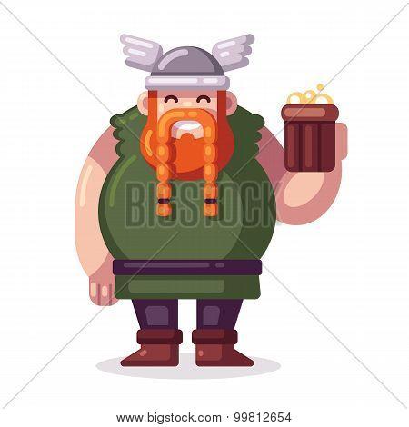 Cartoon Viking With Beer