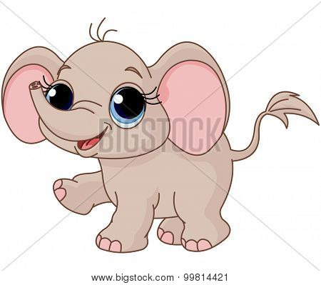 Illustration of cute and funny baby elephant