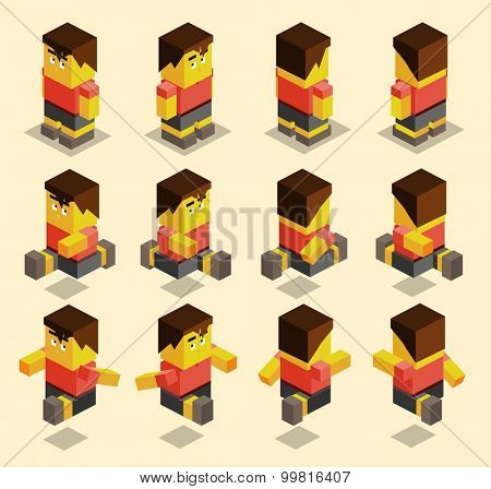 8 sided character set for game. isometric art