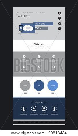 One Page Website Template with Cloud Computing and Networking Header Design