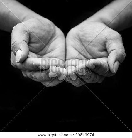Beggar People And Human Poverty Concept - Person Hands Begging For Food