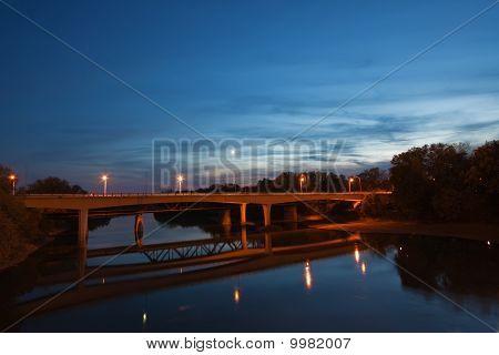 Bridge Over The Wabash River In Indiana