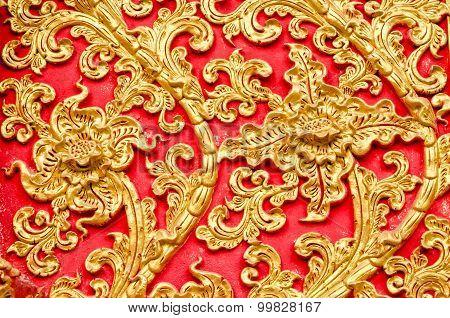 Texture Of Stucco Golden Color Tree At Wat Prathat Lampang Luang Temple, Lampang, Thailand