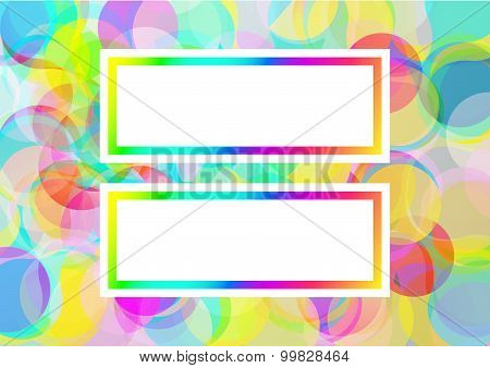 Background with abstract color bubbles with 2 text places