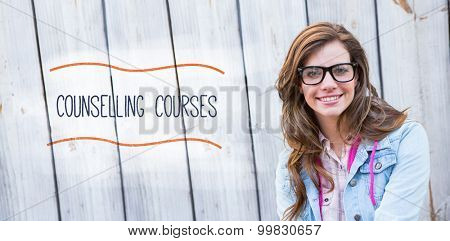 The word counselling courses against pretty woman smiling at camera