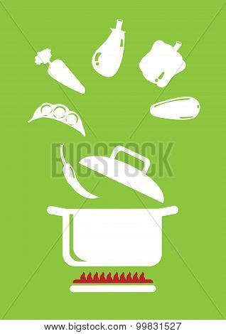 Cooking Vegetables Vector Illustration