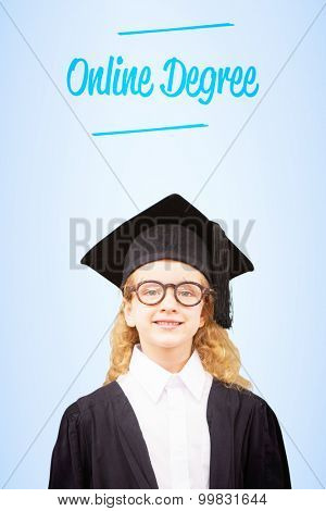 The word online degree and cute pupil in graduation robe against blue vignette background