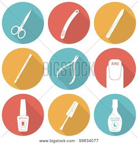 Set of flat icons of tools and accessories for nail care - manic