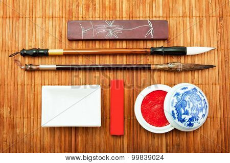 The Chinese Set For Calligraphy, The Art Of Calligraphy, Brush For Chinese Painting, Bamboo Brush, C