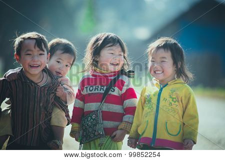 H'mong ethnic minority children in Laocai, Vietnam