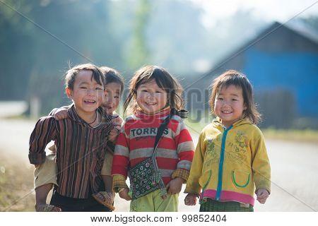 H'mong ethnic minority children in Laocai, Vietnam.