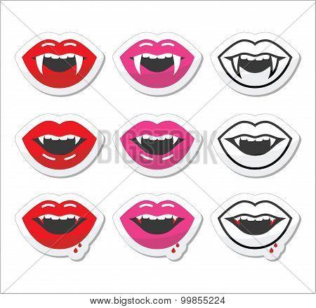 Vampire mouth, vampire teeth vector labels set
