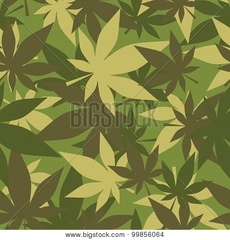 Military Texture Of Marijuana. Soldiers Camouflage Hemp. Army Seamless Background From Leaves Of Can