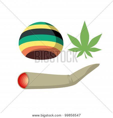 Set Jamaica Drug Addict. Rasta Cap, Spliff And Cannabis Leaf. Vector Illustration Of Drugs.