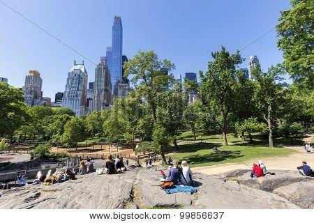View of Heckscher Playground from Umpire Rock in Central Park