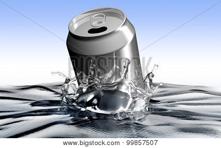 Soda Can Throwed Into The Water Making Polution