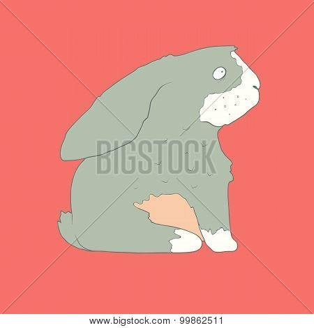 Flat hand drawn icon of a cute rabbit