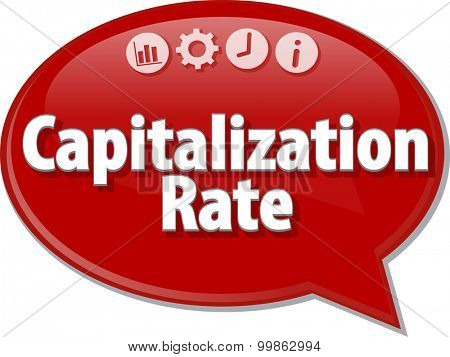 Speech bubble dialog illustration of business term saying Capitalization Rate