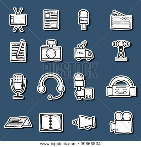 Set of stickers in hand drawn catroon style on journalism theme: newspaper, tv, antenna, microphone, camera, van. Mass media concept fot your design poster