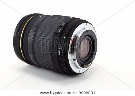 Black camera lens isolated in white background poster