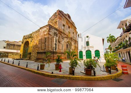 PANAMA PANAMA - APRIL 16 2015: Street view of the recentry restaurated historic quarter of Panama City known as Casco Viejo. poster